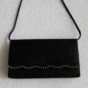 La Regale Black Satin Formal Clutch Purse